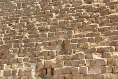 Steinwand von ägyptischen Pyramiden in Giseh, Abschluss oben Lizenzfreie Stockfotos