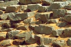 Steinwandoberfläche mit Zement des dekorativen Zauns Stockbilder