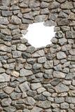 Steinwandrahmen mit leerem kleinem Loch Stockfoto