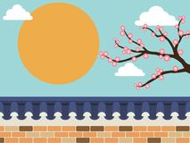 Steinwandzaun der japanischen Art mit Kirschblüte-Baum lizenzfreie abbildung