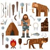 Steinzeitalterhöhlenbewohnerhöhlenfeuermammutknochenvektor des Lebens Stockfotografie