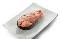 Stek łosoś na talerzu Obraz Stock
