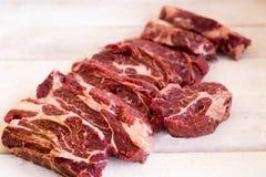 Stek świeży, surowy w stki kawałek mięso, cięcie Obraz Stock