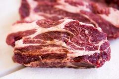 Stek świeży, surowy w stki kawałek mięso, cięcie Zdjęcia Royalty Free