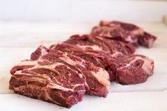 Stek świeży, surowy w stki kawałek mięso, cięcie Zdjęcie Royalty Free