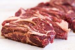 Stek świeży, surowy w stki kawałek mięso, cięcie Fotografia Royalty Free