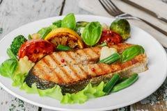 Stek piec na grillu łosoś Obraz Royalty Free