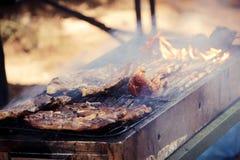 Stek piec na grillu Zdjęcia Stock