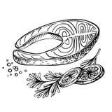 Stek rewolucjonistki ryba, łosoś, z cytryną i ziele Zdjęcie Royalty Free