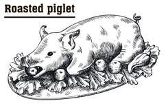 Stek som diar svinet Grillad spädgris med grönsaker på uppläggningsfatet royaltyfri illustrationer