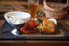 Stek z pomidorem i kumberlandem Obrazy Stock