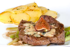 Stek z roquefort i figami Fotografia Royalty Free