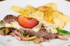Stek z roquefort i śliwkami Obraz Stock