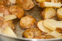 Steka unga potatisar i djup varm olja Arkivbild