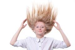 Stekelige blonde haarvrouw Royalty-vrije Stock Foto's