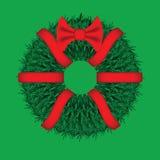 Stekelige Kerstmiskroon met een rode boog en linten Stock Foto