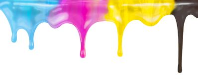 Stekflott för målarfärg för CMYK-färgpulverfärg som isoleras på vit stock illustrationer