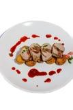Stekgriskött med vinbärsås Royaltyfria Foton
