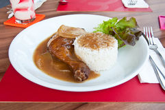 Stekhöna med rice Royaltyfria Foton