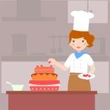 stekhet cake royaltyfri illustrationer