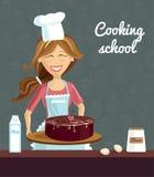 Stekhet kvinna med kakan stock illustrationer
