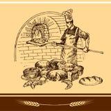 Stekhet panna för bagareholding Arkivbild