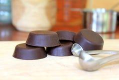 Stekheta disketter för choklad Arkivbild