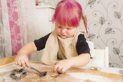 Stekheta julkakor för flicka Royaltyfri Foto