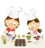 Stekheta muffin för moder och för dotter royaltyfri illustrationer