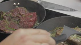 Stekheta nötköttbiffar lager videofilmer