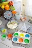 Stekheta söta muffin med blåbär Arkivbild