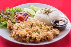 Stekhett småfiskgriskött med ris Arkivfoton