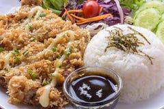 Stekhett småfiskgriskött med ris Royaltyfri Foto
