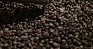 Stekhett virvla för kaffebönor som är blandat på att kyla enhetsplattformen i ett manufactoryseminarium, närbild arkivfilmer