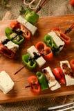 Steknål av tofuen och peppar Arkivbild