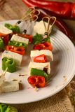 Steknål av tofuen och peppar Fotografering för Bildbyråer