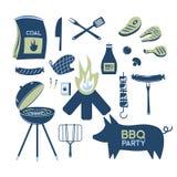 Steknål för produkter för vektor för matställe för parti för restaurang för grillfest för BBQ-gallerkött som hemmastadd grillar k Arkivbilder