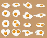 Stekt ägg i många form med den färgäggula och äggviteämnen Royaltyfri Bild