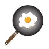 Stekt ägg i tecknad filmstil royaltyfri illustrationer