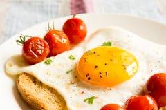 Stekt ägg på bröd och tomater Arkivbilder