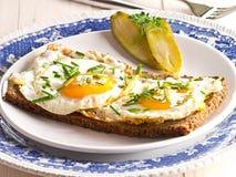 Stekt ägg på en skiva av bröd. Fotografering för Bildbyråer