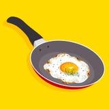 Stekt ägg på pannan med handtaget, Royaltyfri Illustrationer