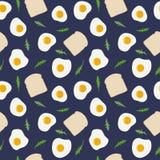 Stekt ägg, rostat brödbröd och modell för rucola för raketsallad sömlös Tecknad illustration för vektor hand stock illustrationer