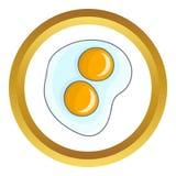 Stekt äggvektorsymbol stock illustrationer