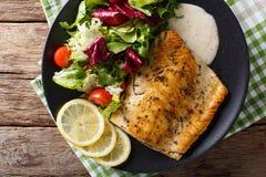 Stekt arktisk röding för fiskfilé med nya sallad- och såsclos Royaltyfri Foto