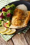 Stekt arktisk röding för fiskfilé med nya sallad- och såsclos Royaltyfri Fotografi