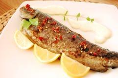 stekt citronforell för chili fisk Arkivfoton
