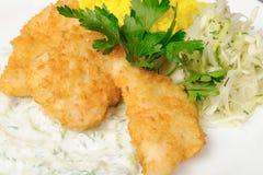 stekt crispy fisk Arkivfoto