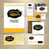 Stekt design för begrepp för fiskrestaurangmeny vektor för mall för identitet för illustrationsaffär företags Royaltyfria Bilder