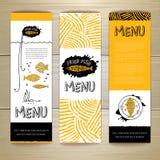 Stekt design för begrepp för fiskrestaurangmeny vektor för mall för identitet för illustrationsaffär företags Royaltyfri Bild